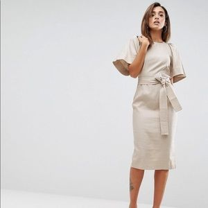Asos Shoulder Detail Mini Dress Linen 4 NWT